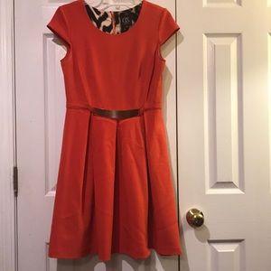 Orange skater midi dress